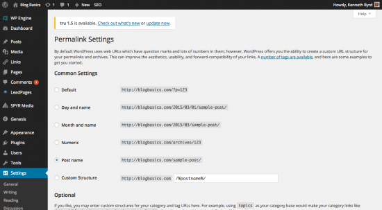 wordpress permalinks screen