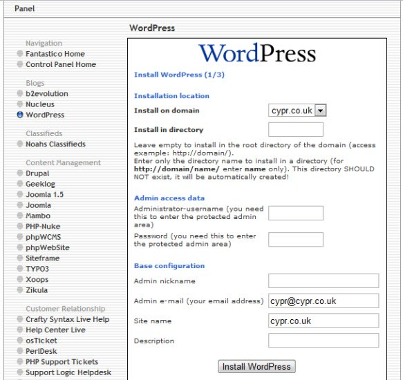 Fantastico Install WordPress Form