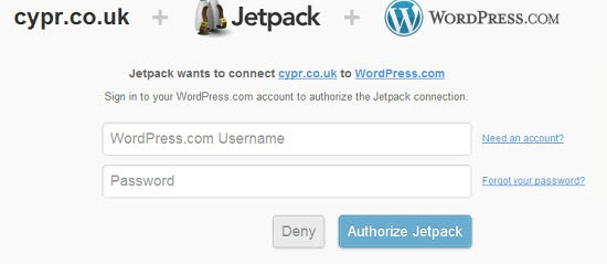WordPress account signin page