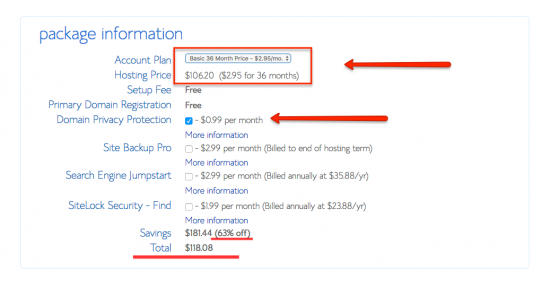 bluehost package information discount